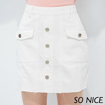 SO NICE俏麗金屬排釦短裙