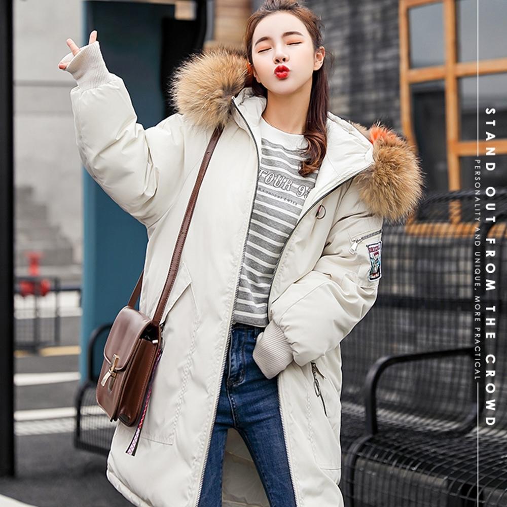 【韓國K.W.】美式刺繡貼布防風防小潑水穿毛領羽絨外套-1色
