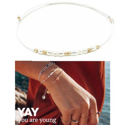 YAY You Are Young 法國品牌 Riviera 白色珍珠手鍊 金色X白色