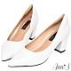 Ann'S加上優雅高跟版-復古皮革沙發後跟尖頭鞋-白 product thumbnail 1