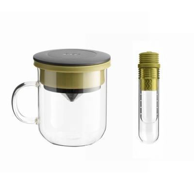 【PO:Selected】丹麥咖啡泡茶兩件組 (咖啡玻璃杯350ml-黑綠/試管茶格-綠)