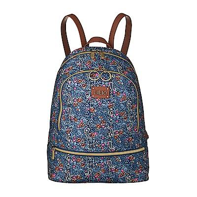 後背包-微型手繪印花-藍 - LiliO