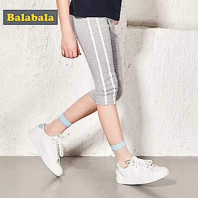 Balabala巴拉巴拉-舒適彈性側邊條造型七分褲-女(2色)