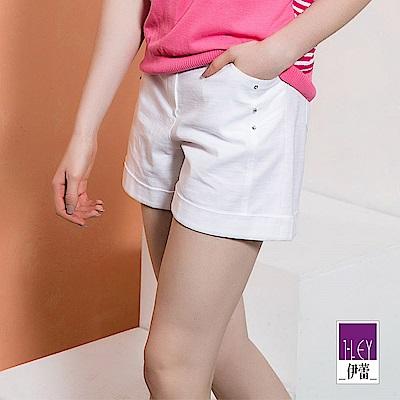 ILEY伊蕾 都會線條造型剪裁棉質短褲(黑/白)