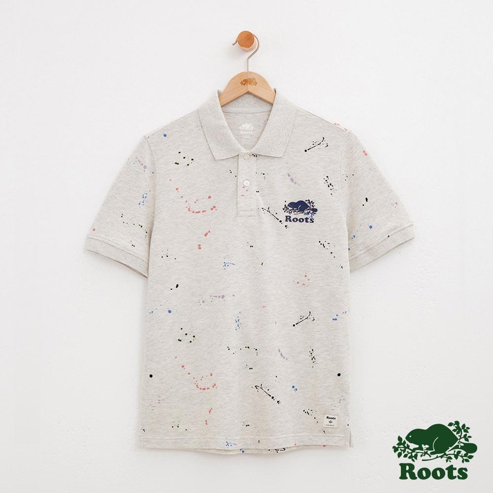 男裝-Roots潑墨短袖POLO衫-灰色