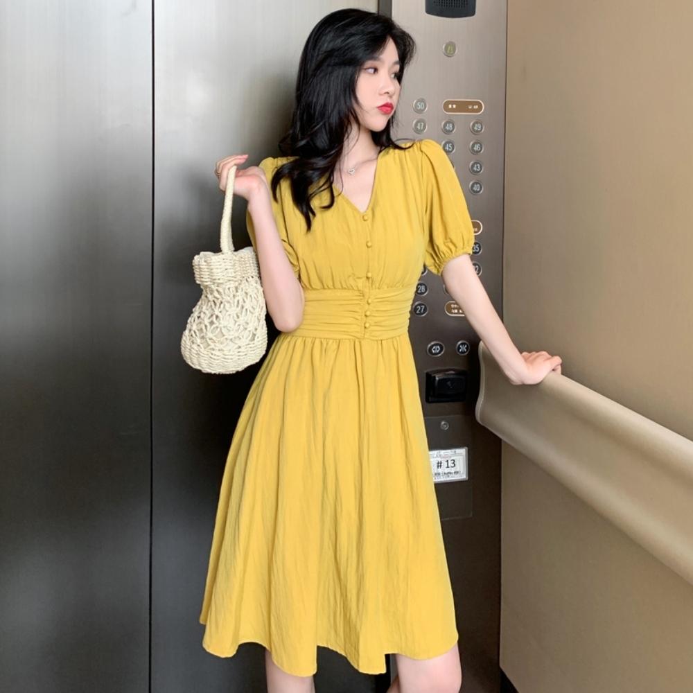 優雅氣質純色泡泡袖V領淑女洋裝S-L(共二色)-Dorri product image 1