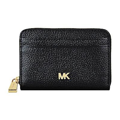 MK MICHAEL KORS MERCER金字LOGO牛皮拉鍊卡片零錢包(黑)