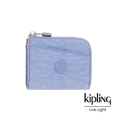 Kipling 溫柔粉藍實用拉鍊短夾-AWATIK