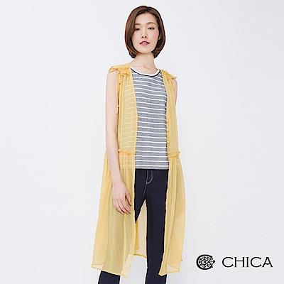 CHICA 徜徉仲夏抓皺設計透膚雪紡洋裝(2色)