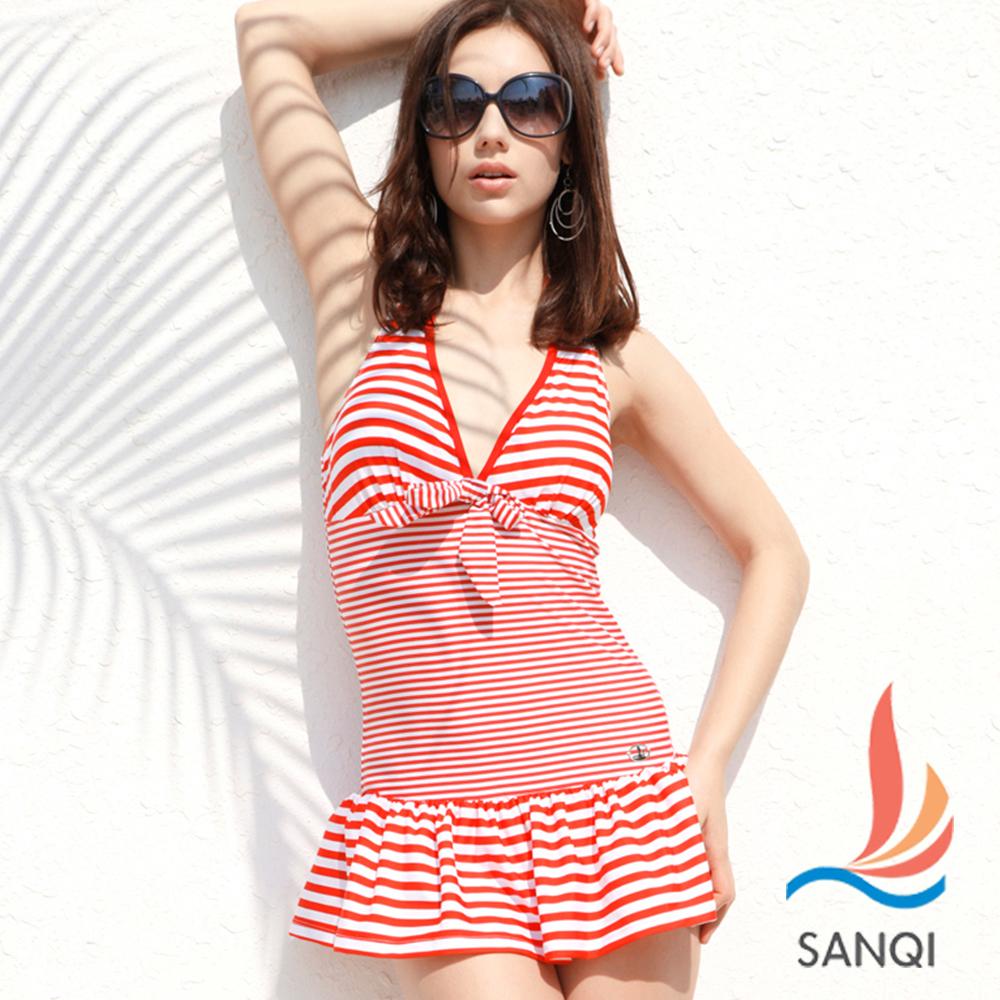 SANQI三奇 海洋魅力 二件式條紋連身泳裝(紅M)