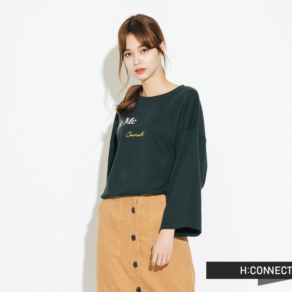 H:CONNECT 韓國品牌 女裝-休閒寬版印字T-Shirt-綠