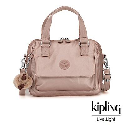 Kipling 唯美玫瑰金側翻蓋手提側背包-ZEVA