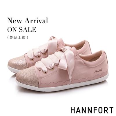 HANNFORT CALIFORNIA 閃耀柔美緞帶休閒鞋-女-粉