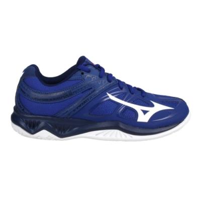 MIZUNO THUNDER BLADE 2 男女排球鞋2.5E-訓練 美津濃 V1GA197020 深藍白