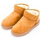 River&Moon雪靴-韓版簡約厚毛Q軟底斜口短靴-黃棕