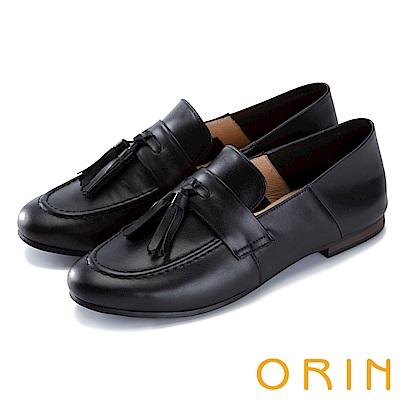 ORIN 復古樂活主義 縫線流蘇牛皮平底鞋-黑色