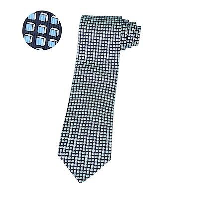 HERMES愛馬仕經典緹花LOGO藍立方格設計蠶絲領帶(海軍藍)