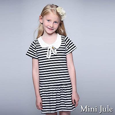 Mini Jule 童裝-洋裝 線繡蜜蜂綁帶條紋短袖洋裝(深藍)