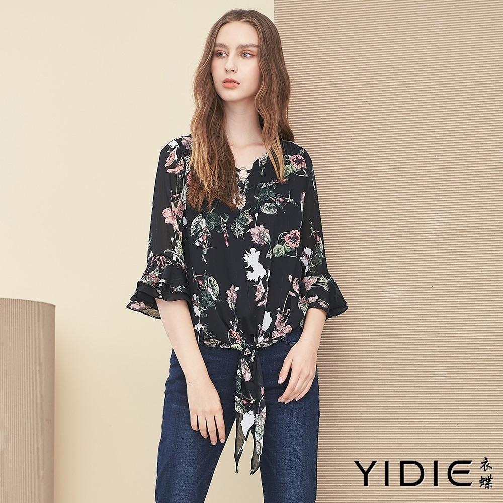 【YIDIE衣蝶】法式浪漫花卉印花荷葉袖雪紡上衣