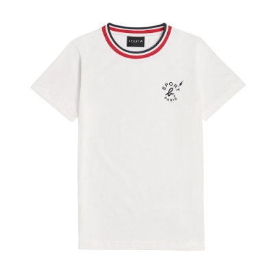 agnes b. - Sport b. 經典logo印花滾邊圓領短袖上衣(男)(白)