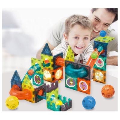 (積木城)兒童拼裝磁力百變軌道66件積木早教玩具(36m+)