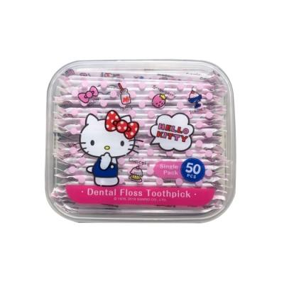 Hello Kitty 凱蒂貓 單支攜帶型牙線棒 50 支(盒裝) X 6 盒(台灣製)