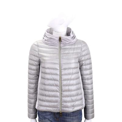 HERNO 灰銀色打摺立領設計後拼接絎縫羽絨外套