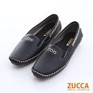 ZUCCA-車縫軟皮革平底包鞋-黑-z6330bk