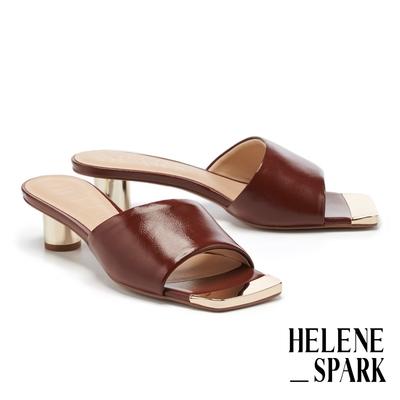 拖鞋 HELENE SPARK 現代經典摩登全羊皮方頭高跟拖鞋-棕