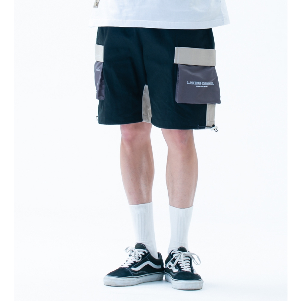 LAKING六口袋三色拼接工作短褲