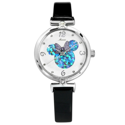 Disney 迪士尼 米妮面板 日本機芯 兒童錶 卡通錶 真皮手錶-白x黑/29mm