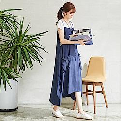 慢 生活 花苞口袋細肩吊帶裙-藍色/卡其