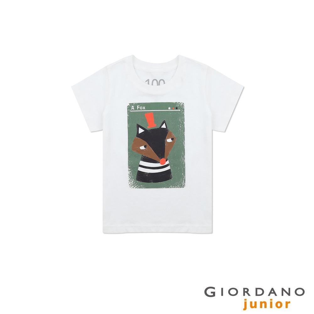 GIORDANO 童裝純棉動物印花短袖T恤-52 標誌白