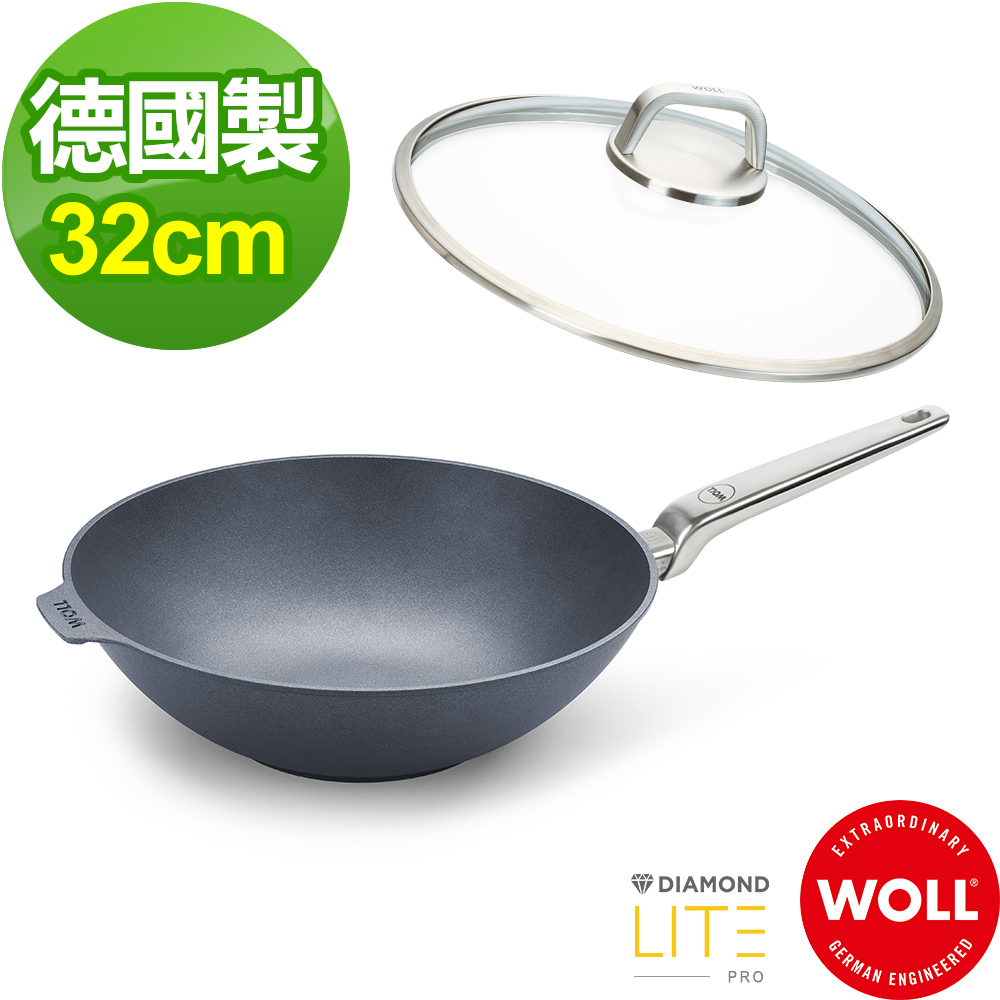 德國 WOLL Diamond Lite Pro 鑽石系列32cm 中華鍋(含蓋)