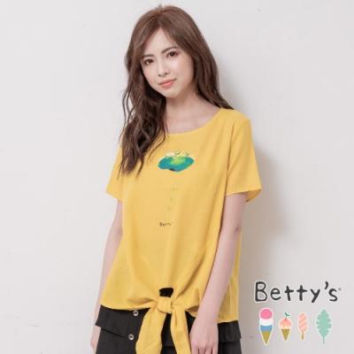 betty's貝蒂思 圓領前印花下綁帶上衣(黃色)