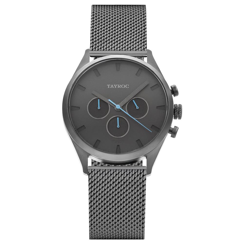 TAYROC 英式風尚米蘭帶計時手錶-灰X藍針/42mm