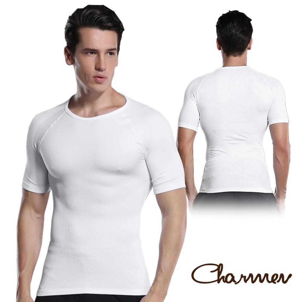 Charmen NY128圓領X字挺背收腹短袖 男性塑身衣 白色