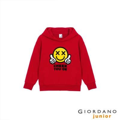 GIORDANO 童裝CHEER YOU ON連帽T恤 - 01 新冠軍紅