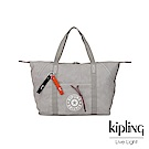 Kipling Blank Canvas系列棉質丹寧淺灰手提側背包-ART M