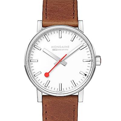 MONDAINE 瑞士國鐵evo2時光走廊腕錶-銀棕/40mm