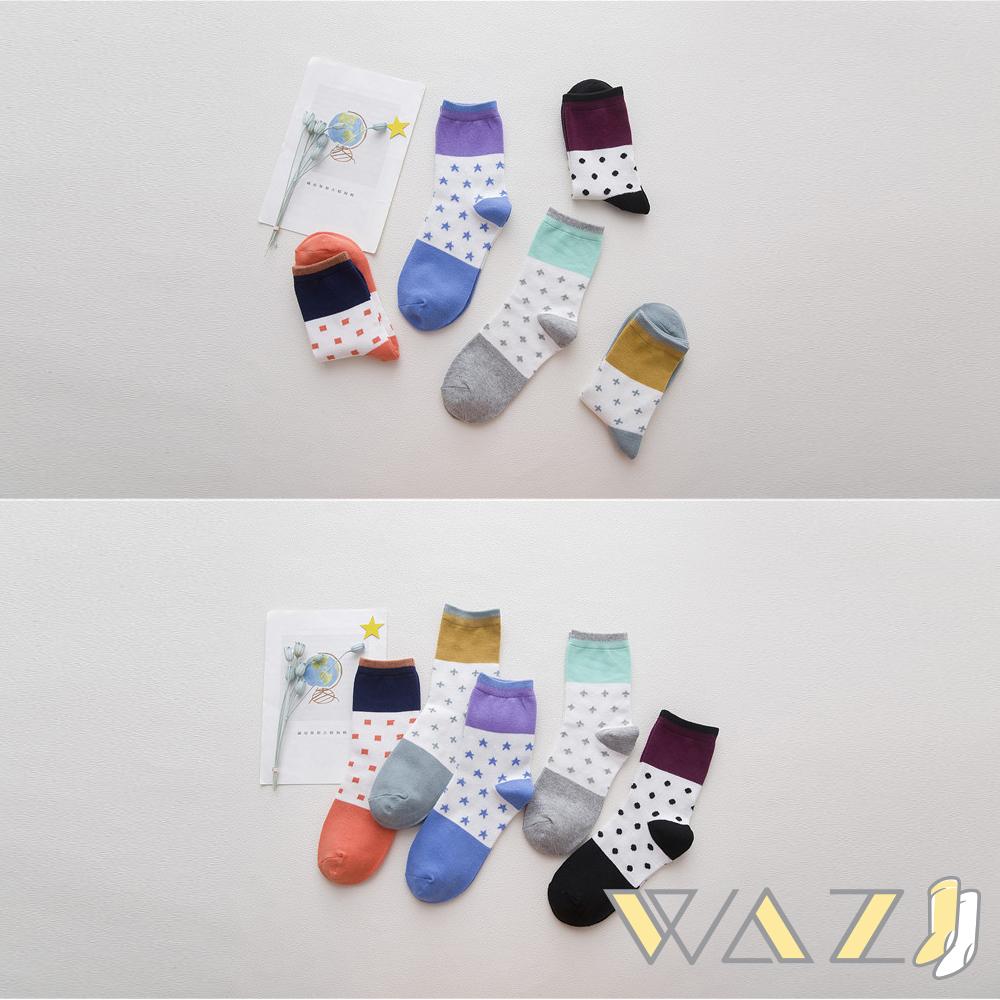 Wazi-清新圓點星星撞色中筒襪 (1組五入)