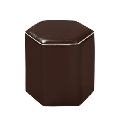 文創集 古納斯現代皮革六角小椅凳(四色可選)-42x39x42cm免組