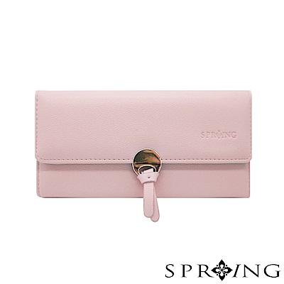 SPRING-法式圓舞曲圓扣長夾-柔和櫻草粉