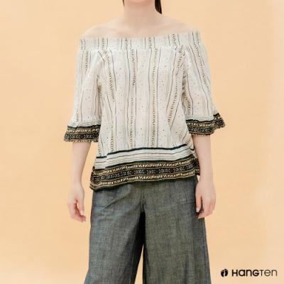 Hang Ten- 青少童裝-寬口飛袖質感襯衫-白