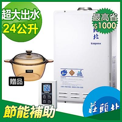 【節能補助再省1千】莊頭北TH-7245FE屋內屋外型24公升數位恆溫2級節能瓦斯熱水器