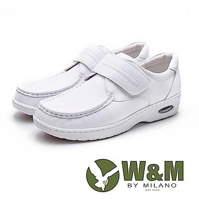 W&M 皮質氣墊彈力魔鬼氈護士鞋 女鞋 - 白(另有黑)