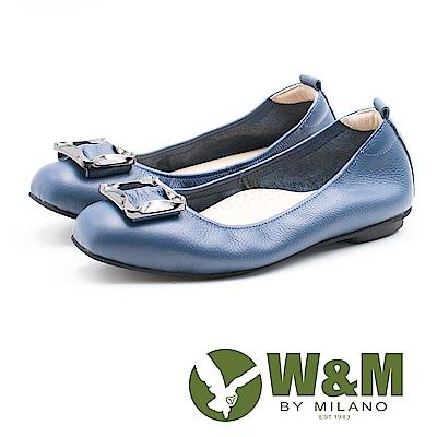 W&M 簡約方扣 淑女牛皮平底鞋 女鞋-藍(另有黑、米)