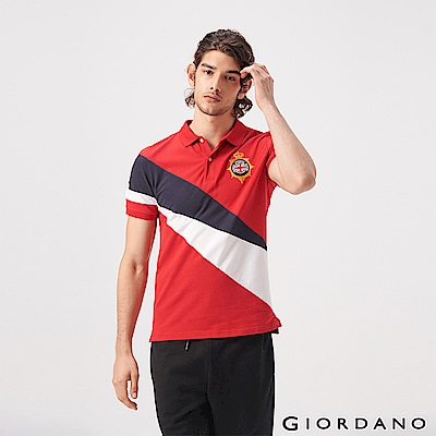 GIORDANO 男裝UNION JACK系列短袖POLO衫-39 紅/藍/白
