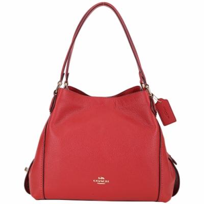 COACH Edie Bag 31 荔紋牛皮三夾層梯型肩背包(紅色)