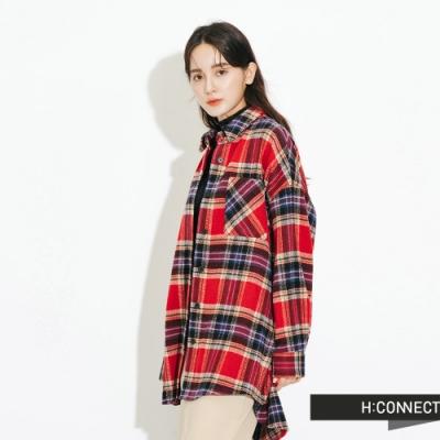H:CONNECT 韓國品牌 女裝-亮眼格紋毛呢襯衫-紅